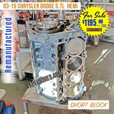 Rebuilt Dodge 5.7L Hemi Short Block Engine for sale.