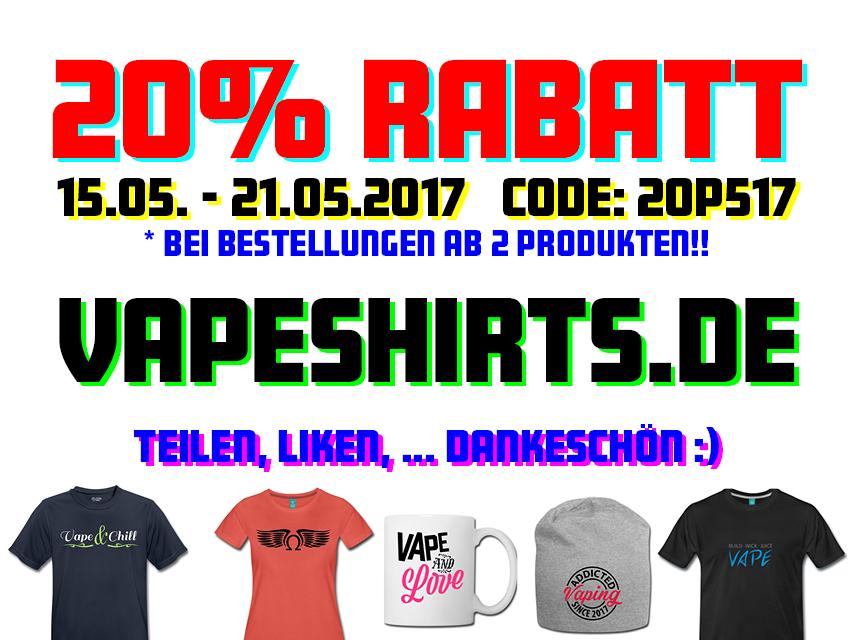 20% Vapeshirts-Rabatt