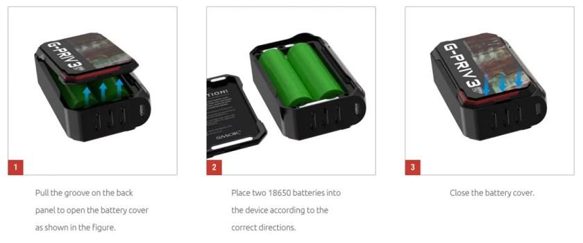 Smok G Priv 3 battery installation