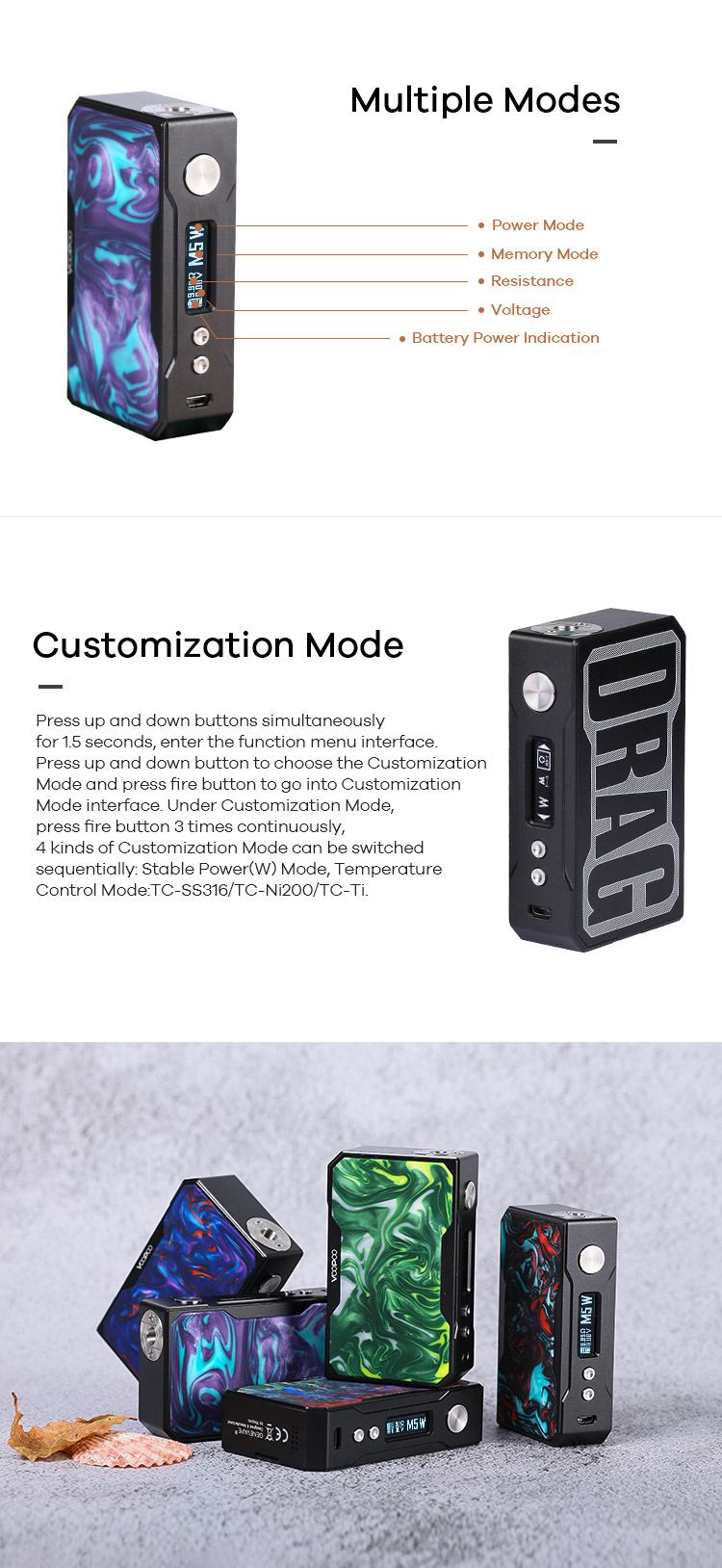 VOOPOO DRAG Mod Support Multiple Modes and customization