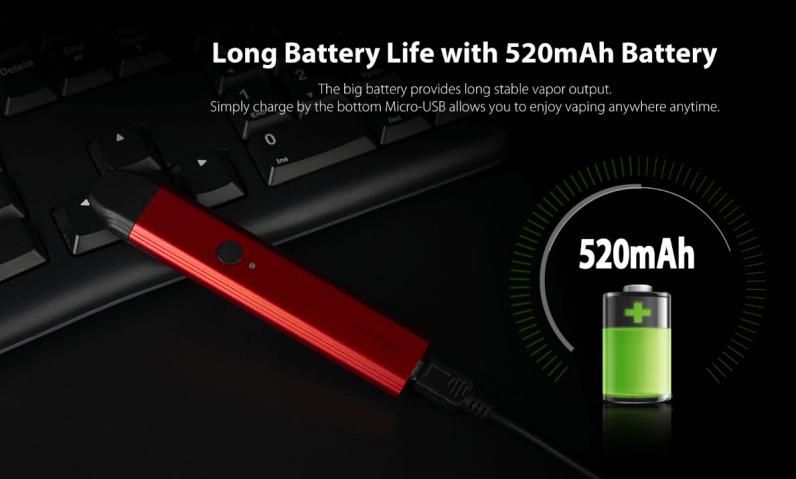 Uwell Caliburn Pod System Kit 520mAh Long Battery