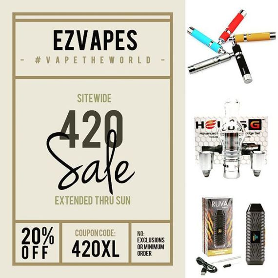 #420 #sale extended thru Sunday, April 23rd ... Get 20% off sitewide with no minimum or exclusions when you use coupon code 420XL at checkout or by phone. Visit ezvapes.com or call 855-EZVAPES to order. #ezvapes #vapetheworld #ezvape