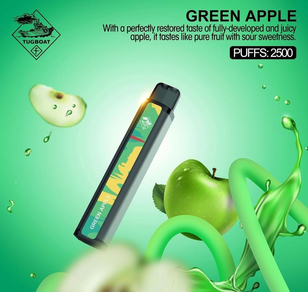 TUGBOAT XXL DISPOSABLE PODS 2500 PUFFS GREEN APPLE