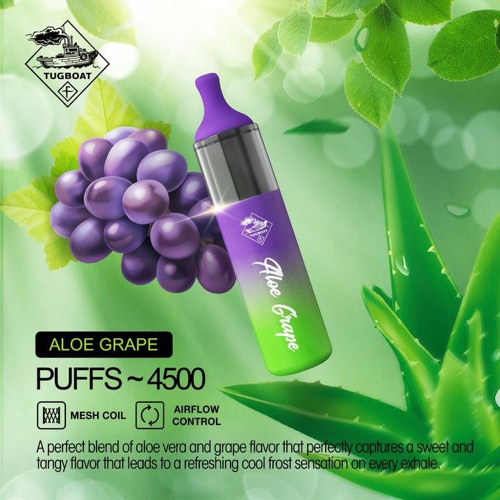 tugboat evo disposable vape device aloe-grape