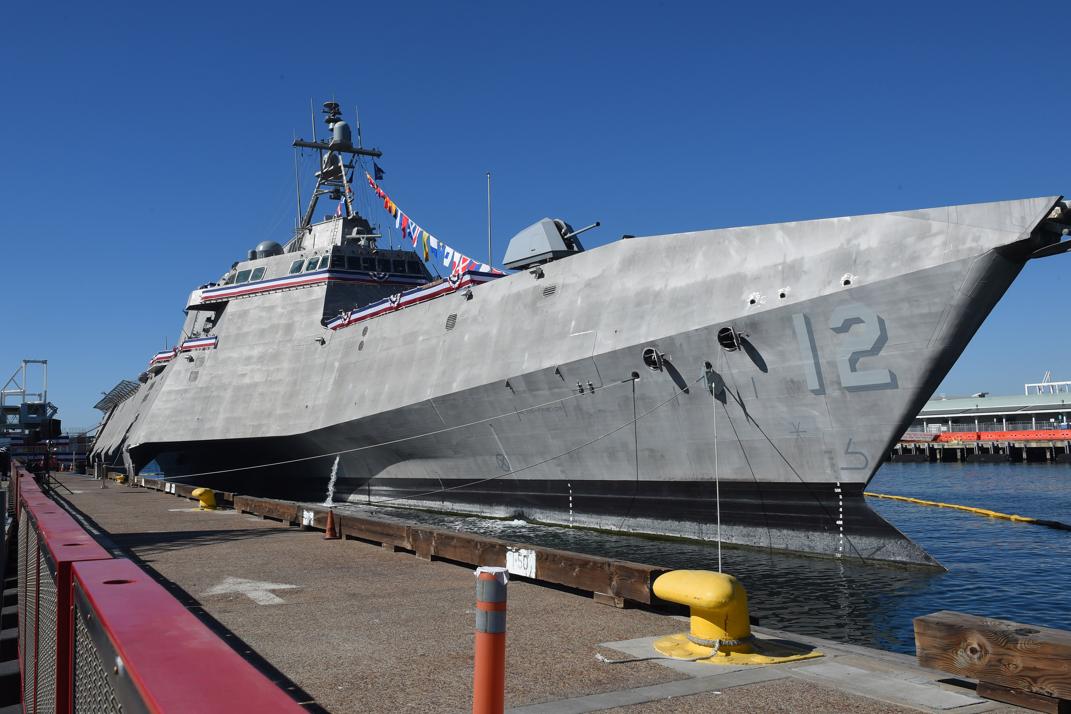 The littoral combat ship USS Omaha (LCS 12) is moored during its commissioning ceremony at Broadway Pier in San Diego, Calif