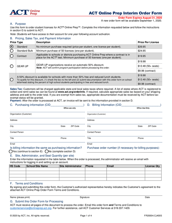 Fill - Free fillable ACT. Inc. PDF forms