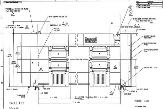 HONEYWELL MEASUREX SCANNER BEAMS (4pcs), 6150mm : Varaoke