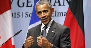 Barack Obama ræðir við blaðamenn eftir leiðtogafund G7-ríkjanna.
