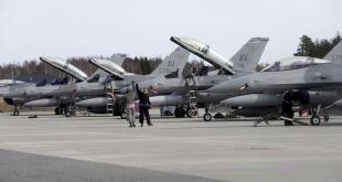 F-16 orrustuþotur á Amari-flugvelli í Eistlandi.