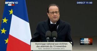 François Hollande Frakklandsforseti flytur minningarræðu í Les Invalides