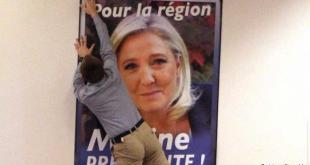 Kosningaplakat með Marine Le Pen