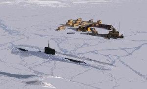 Hér sést mynd frá bandaríska flotanum af ísstöð sem reist hefur verið á Norður-Íshafi.