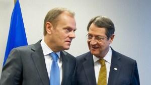 Donald Tusk, forseti leiðtogaráðs ESB, og Nicos Anastasiades, forseti Kýpur.