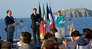 François Hollande, Matteo Renzi og Angela Merkel á fundinum á Ítalíu
