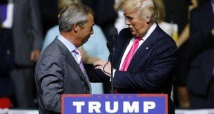 Nigel Farage frá Bretlandi, sem gjarnan er nefndur Mr. Brexit, studdi  á dögunum Donald Trump á kosningafundi.