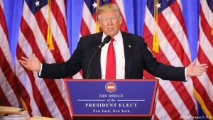 Donald Trump á blaðamannafundinum 11. janúar 2017.