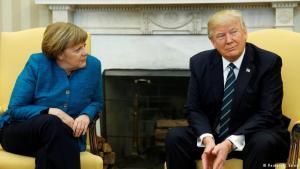 Angela Merkel og Donald Trump á fundi í Hvíta húsinu 17. mars 2017.