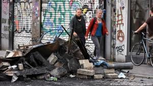 Svona var umhorfs á götum Hamborgar eftir G20-mótmælin.