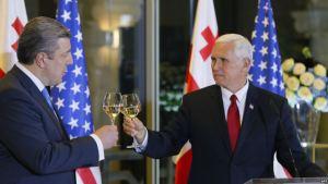 Giorgi Kvirikashvili, forsætisráðherra Georgíu, og Mike Pence, varaforseti Bandaríkjanna, lyfta glasi í Tbilisi.