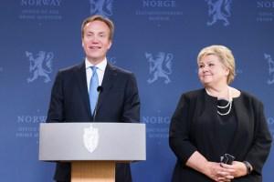 Børge Brende, utanríkisráðherra Noregs, og Erna Solberg forsætisráðherra.