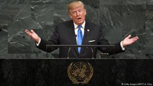 Donald Trump í ræðustól allsherjarþings SÞ.