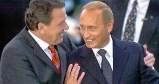 Vinirnir Gerhard Schröder og Vladimir Pútín.