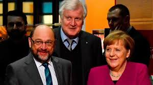 Martin Schulz, Horst Seehofer og Angela Merkel.
