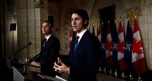 Jens Stoltenberg og Jusrin Trudeau á blaðamannafundi í Ottawa.