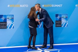 Left to right: Katrin Jakobsdottir (Prime Minister of Iceland) being greeted by NATO Secretary General Jens Stoltenberg