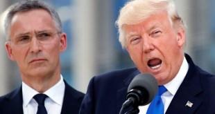 Jens Stoltenberg, framkvæmdastjóri NATO, og Donald Trump Bandaríkjaforseti í Brussel í maí 2017.