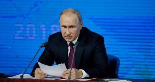 Vladimir Pútin á blaðamannafundinum 20. desember.