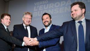 Fulltrúar flokkanna fjögurra, frá vinstri: Olli Kotro (Finnar). Jörg Meuthen (AfD), Matteo Salvini (Bandalagið) Anders Vistisen (DF).