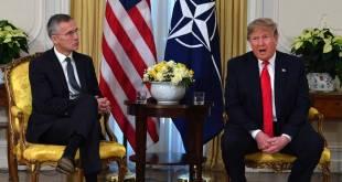 Jens Stoltenberg og Donald Trump á blaðamannafundi í London 3. desember 2019.