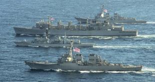 USS Porter, HMS Kent (F78), USNS Supply og USS Roosevelt  á sameiginlegri æfingu í Barentshafi.