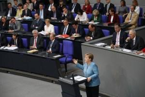 Angela Merkel í þýska þinginu.