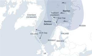 """Svonefnd """"brjóstvörn"""" rússneska Norðurflotans teygir sig til Íslands eins og kortið sýnir."""