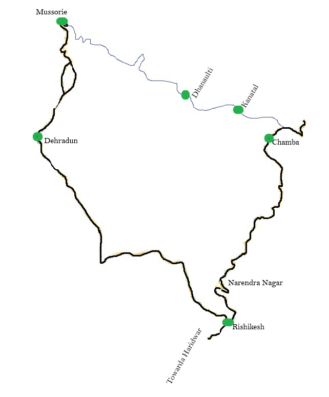 dhanaulti-road-map