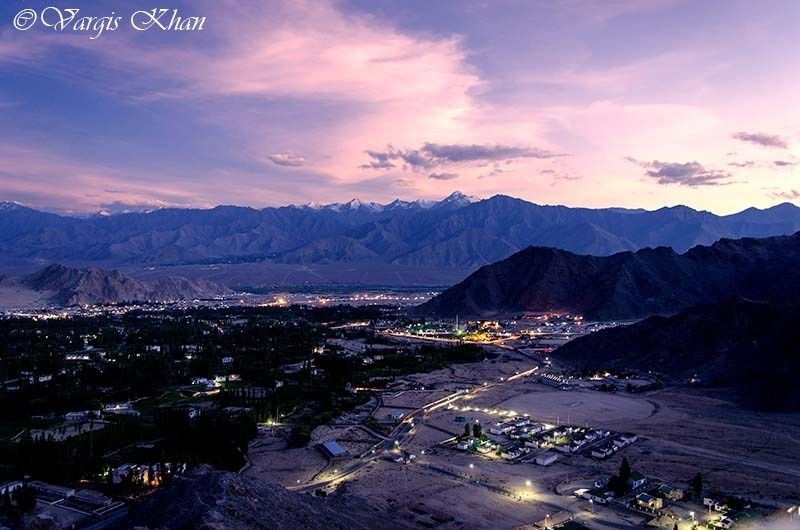 sunset over leh city