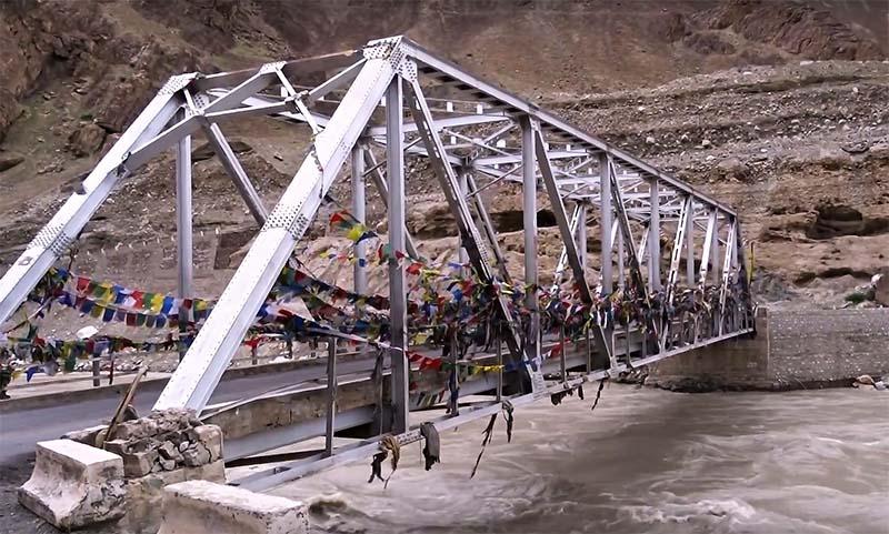 bridge to alchi village and monastery