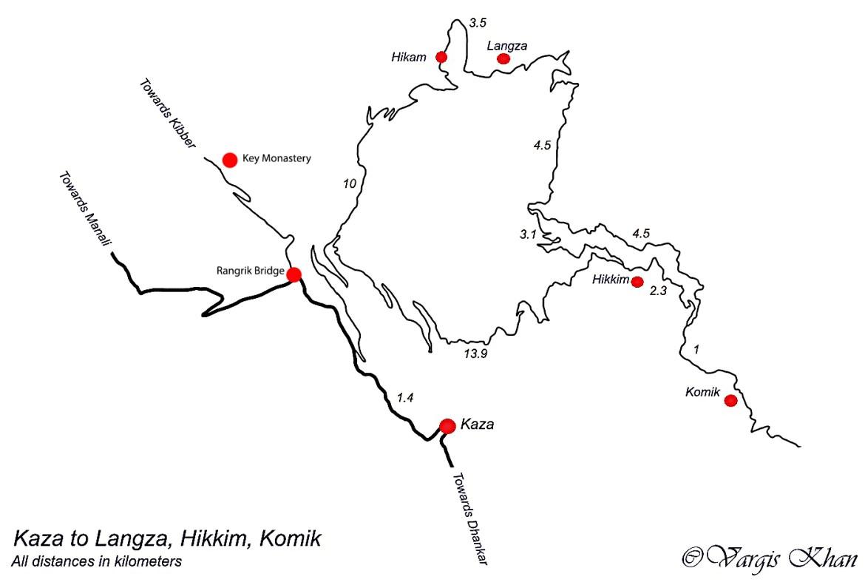 Kaza to Komic route map