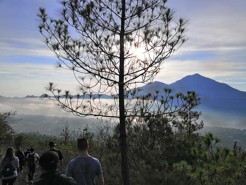 trekking down the mountain