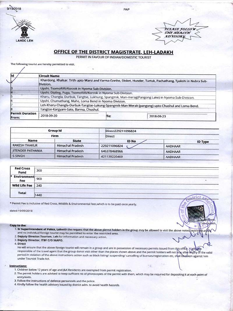permits for leh ladakh