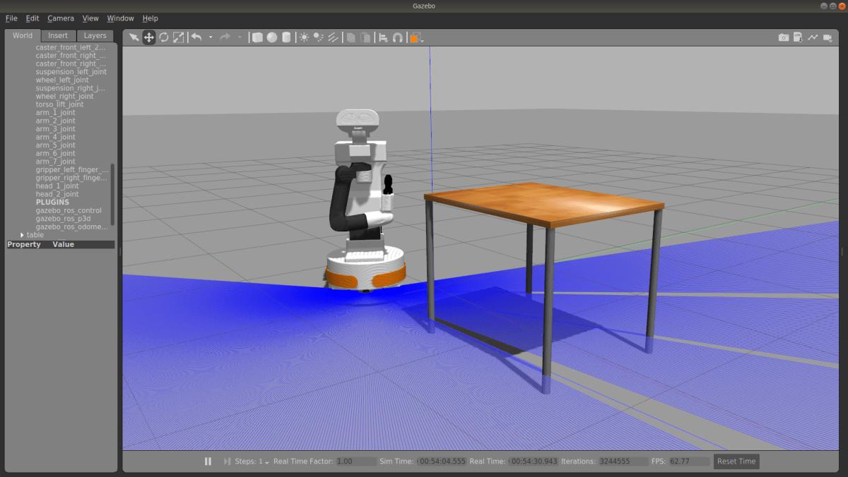 Screenshot of Gazebo, a popular robot simulator