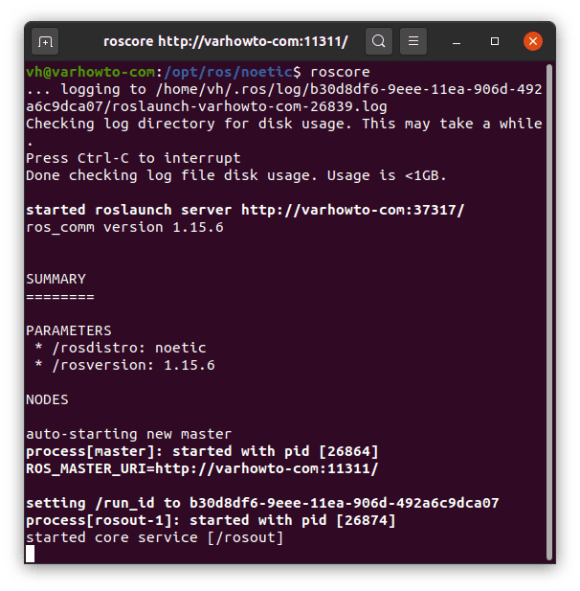 Verify if ROS Noetic is installed on Ubuntu 20.04 by running roscore