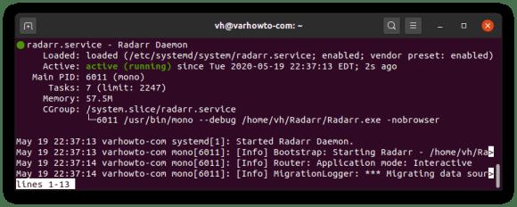 check status of Radarr systemd service