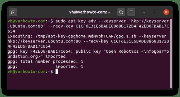 adding ROS Noetic repo key on Ubuntu 20.04