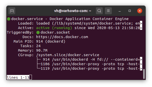docker status on Ubuntu 20.04