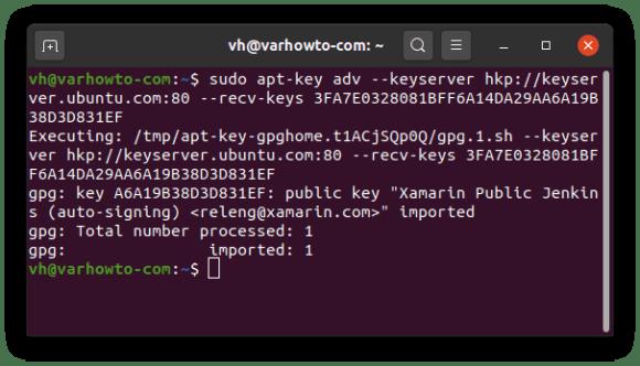 Adding mono's key: Output of sudo apt-key adv --keyserver hkp://keyserver.ubuntu.com:80 --recv-keys 3FA7E0328081BFF6A14DA29AA6A19B38D3D831EF