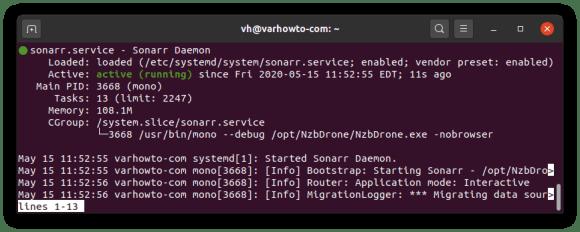 Checking the status of sonarr daemon