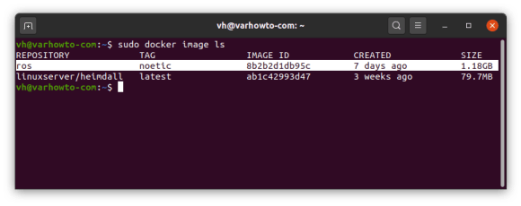 ros noetic docker image shown in docker image ls